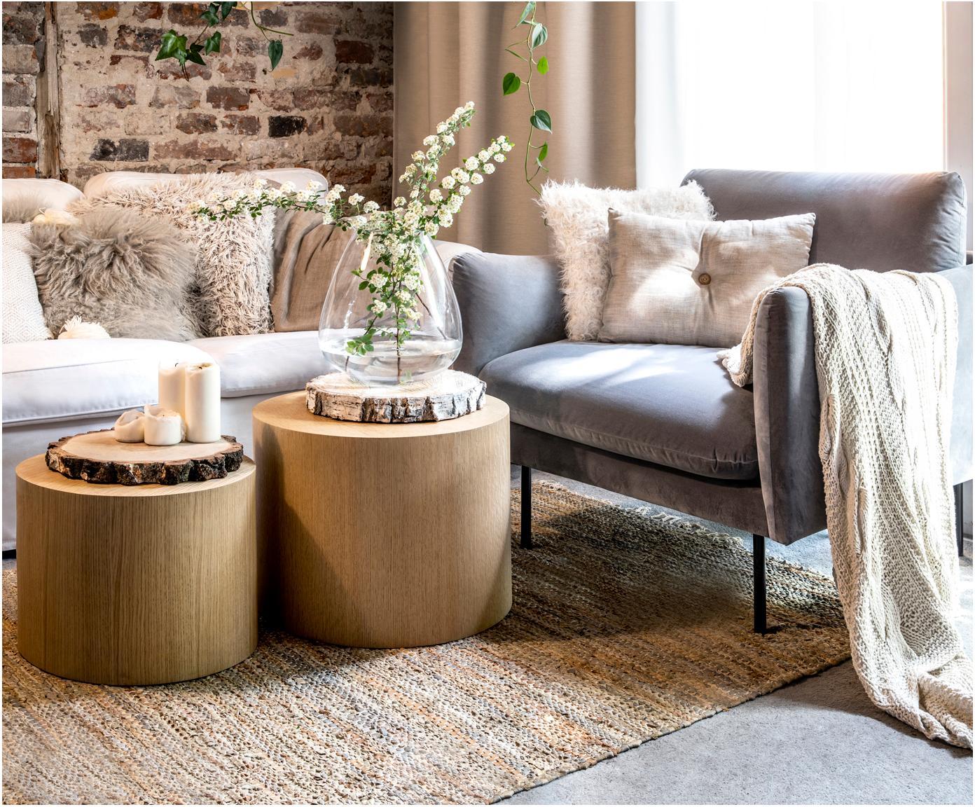 Tisch-Set Dan aus Holz, Mitteldichte Holzfaserplatte (MDF) mit Eichenholzfurnier, Hellbraun, Verschiedene Grössen