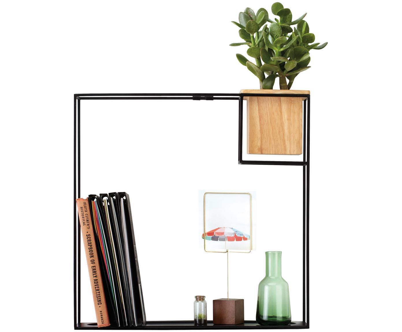 Estante de pared Cubist, Estantería: metal, recubierto, Recipiente: madera de fresno con inse, Negro, beige, An 38 x Al 38 cm
