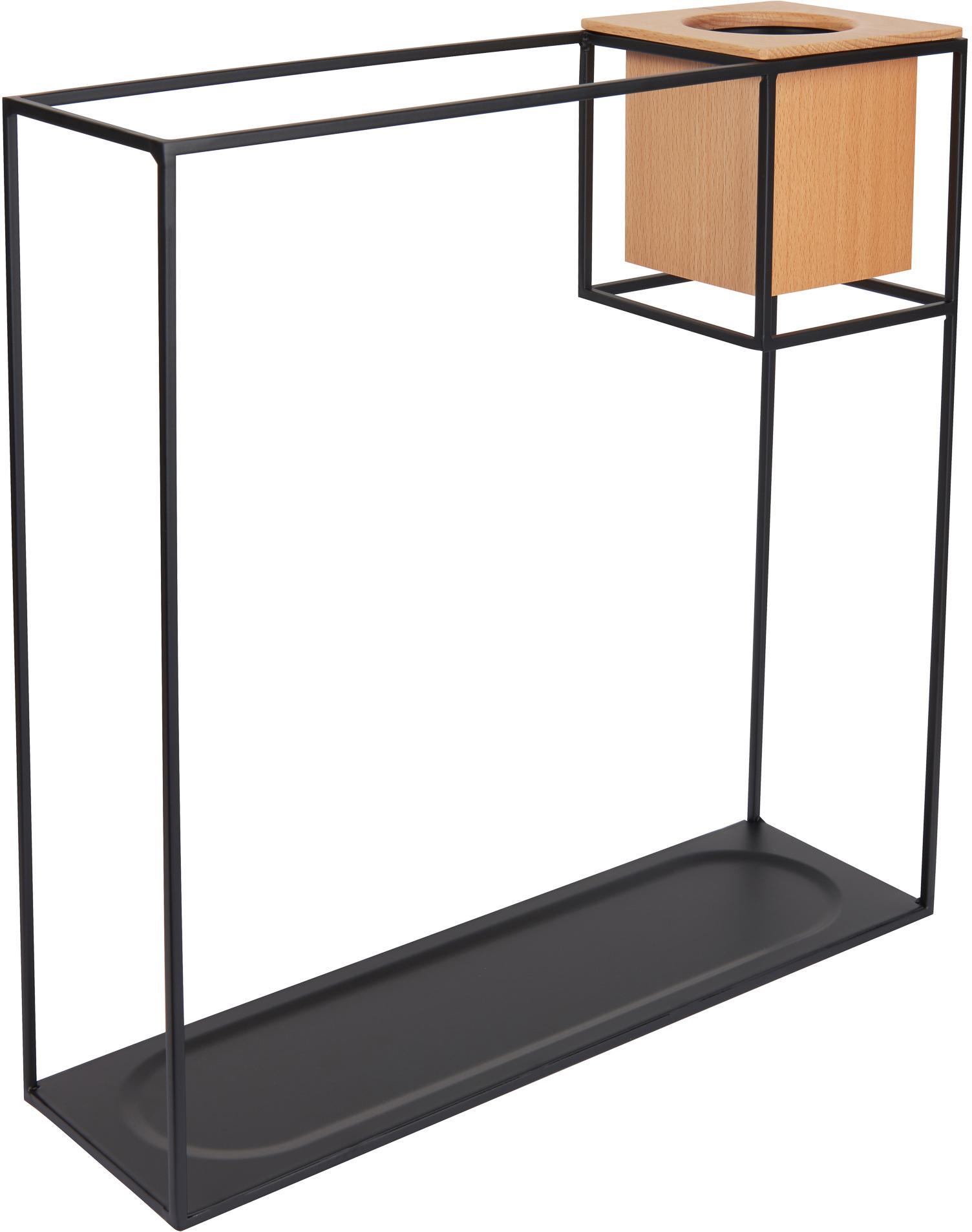 Mensola a muro Cubist, Mensola: metallo rivestito, Contenitore: legno di frassino con ins, Nero, marrone chiaro, Larg. 38 x Alt. 38 cm
