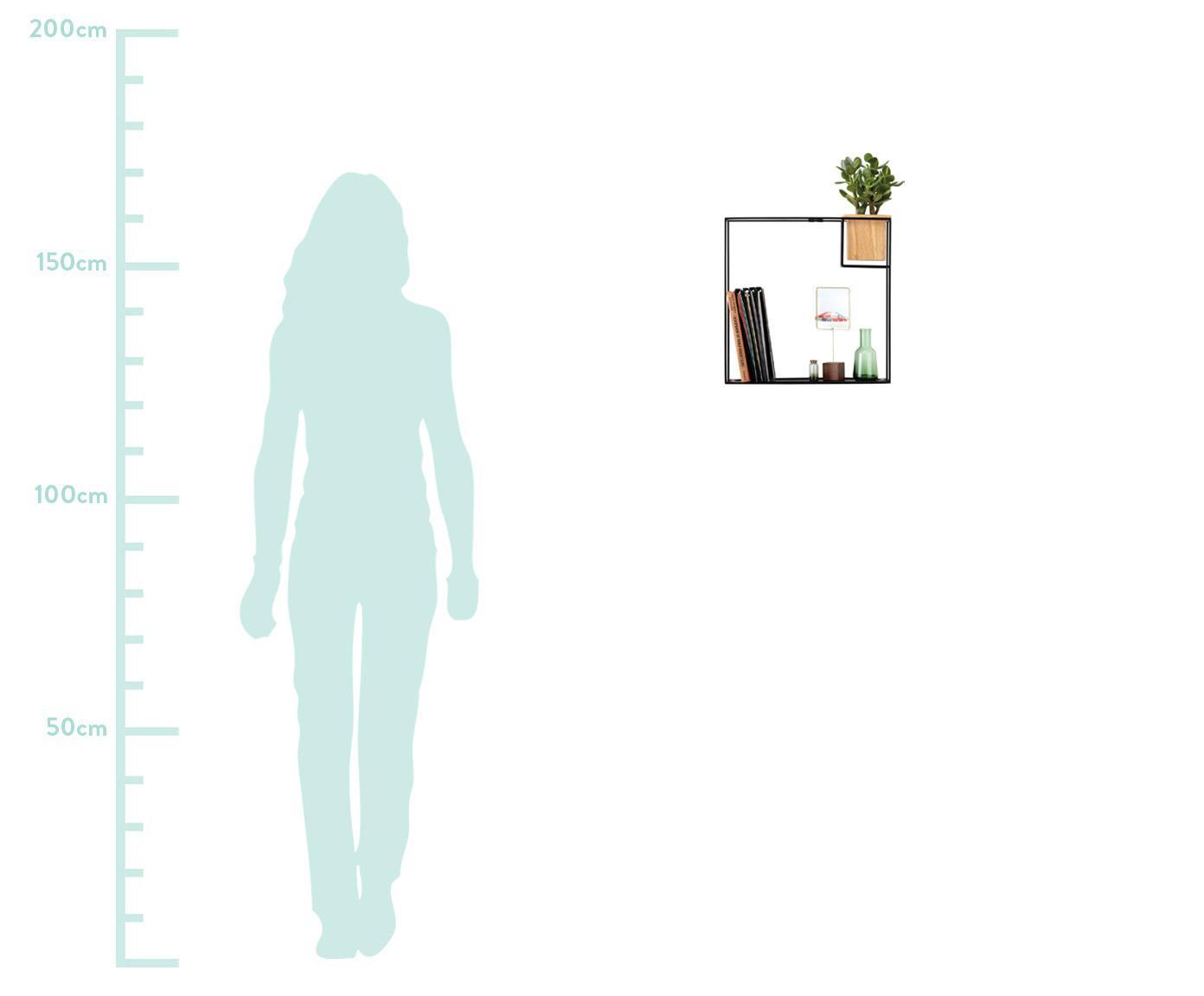 Wandrek Cubist met houder, Frame: gecoat metaal, Houder: essenhout met kunststof i, Zwart, lichtbruin, 38 x 38 cm