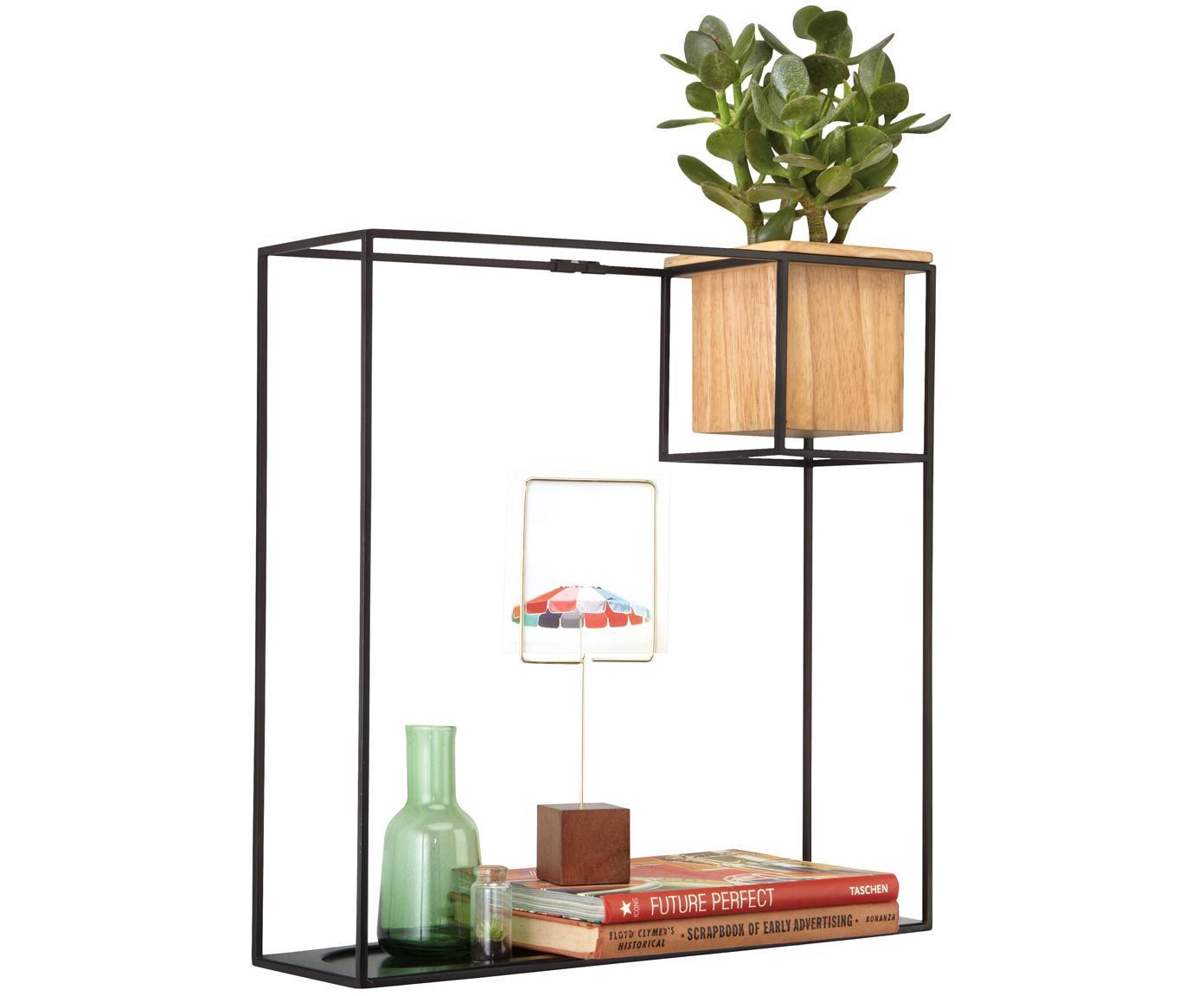 Libreria a muro Cubist, Contenitore: legno di frassino con ins, Nero, marrone chiaro, Larg. 38 x Alt. 38 cm