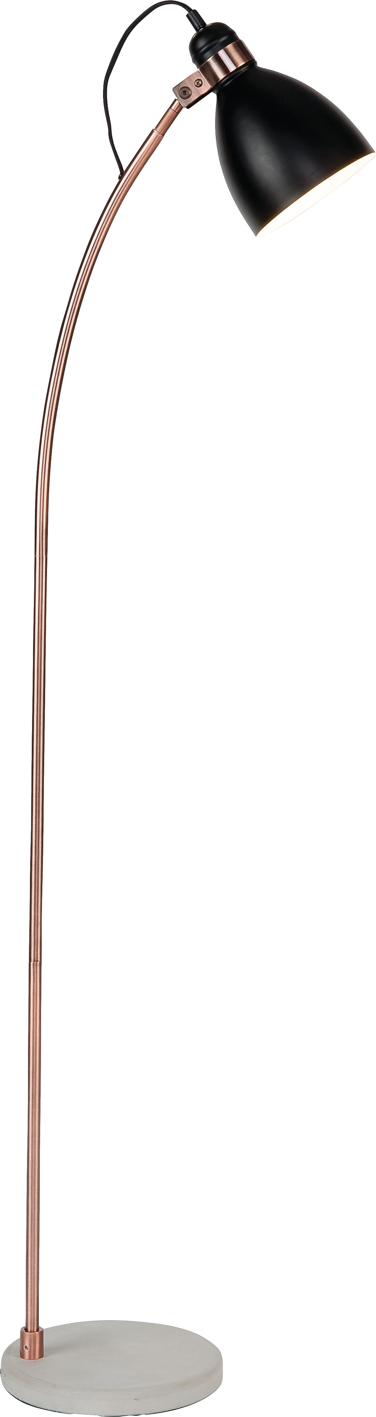 Vloerlamp Denver met betonnen voet, Lampenkap: bekleed ijzer, Frame: verkoperd ijzer, Lampvoet: beton, Lampenkap: zwart. Stang: koperkleurig. Lampvoet: cementkleurig, 37 x 145 cm