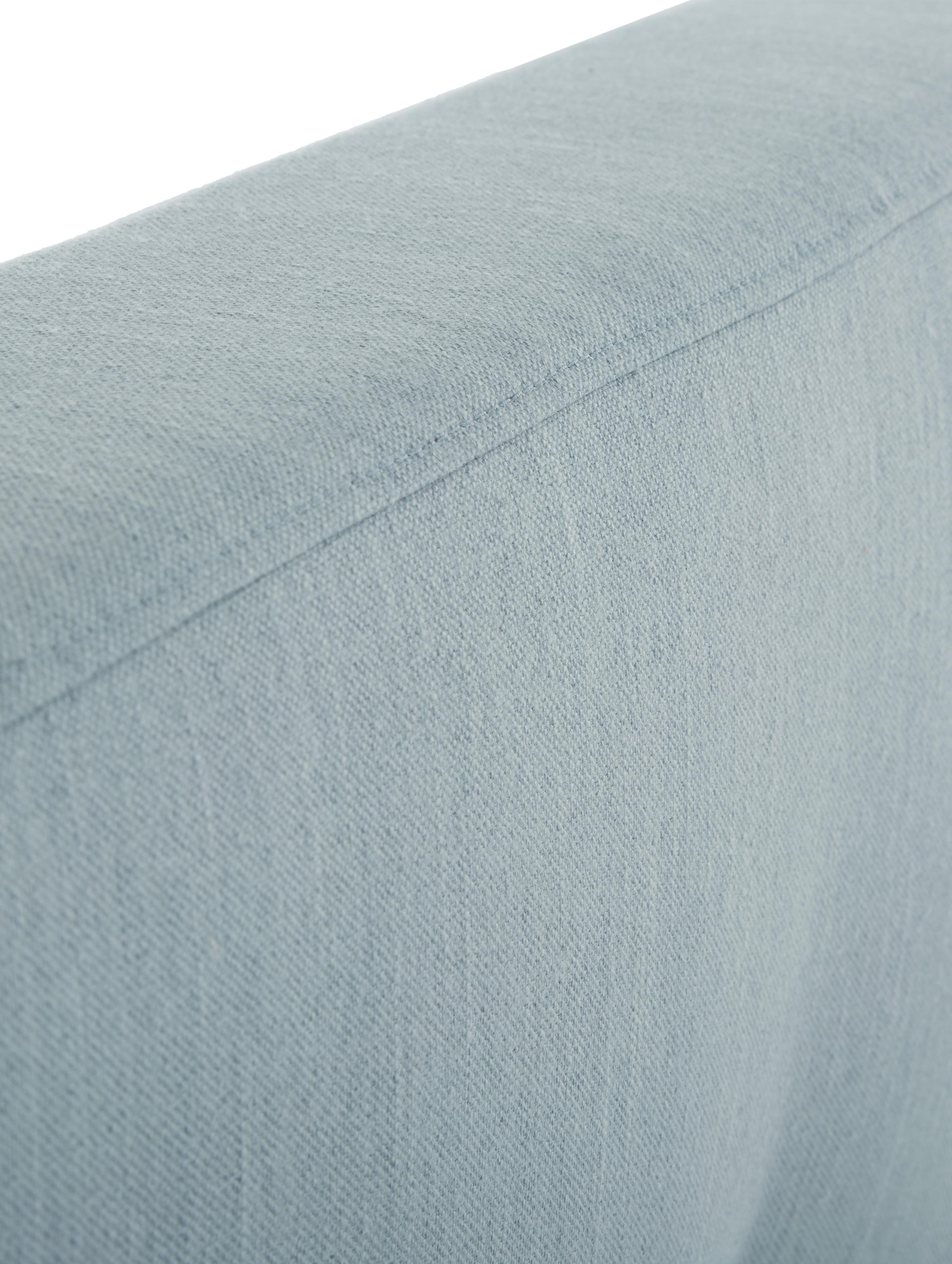Letto matrimoniale imbottito Moon, Piedini: legno di quercia massicci, Rivestimento: Poliestere (tessuto strut, Azzurro, Larg. 180 x Lung. 200 cm