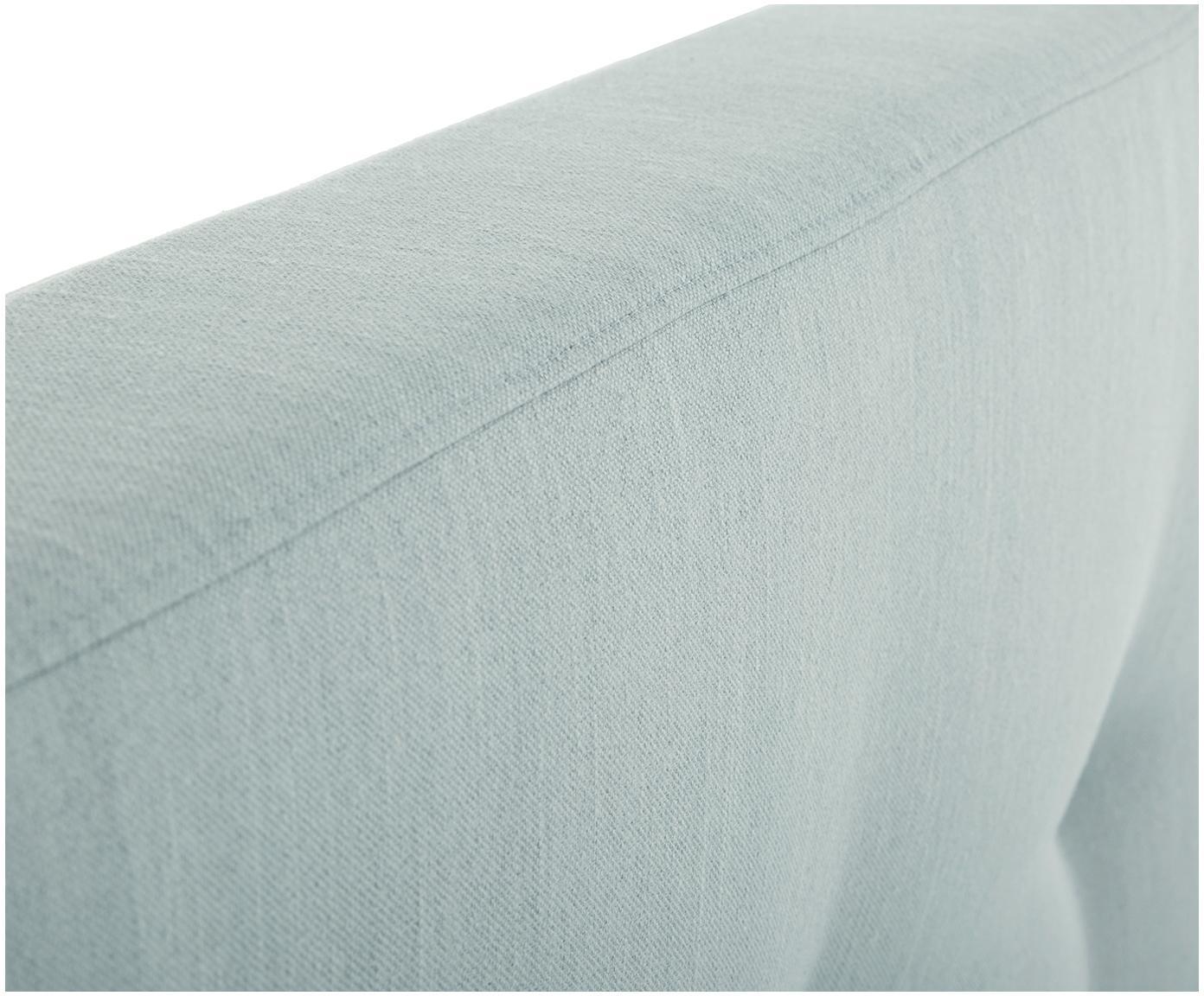 Gestoffeerd bed Moon, Frame: massief grenenhout, Poten: massief eikenhout, Bekleding: polyester (structuurstof), Lichtblauw, 180 x 200 cm
