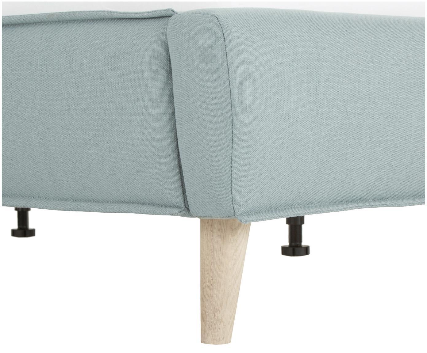 Łóżko tapicerowane Moon, Korpus: lite drewno sosnowe, Nogi: lite drewno dębowe, Tapicerka: poliester (materiał tekst, Jasny niebieski, 180 x 200 cm
