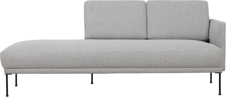 Chaise longue Fluente, Bekleding: 80% Polyester, 20% Ramie, Frame: massief grenenhout, Poten: gepoedercoat metaal, Lichtgrijs, 202 x 79 cm