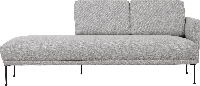 Ottomane Fluente, Bezug: 80% Polyester, 20% Ramie , Gestell: Massives Kiefernholz, Webstoff Hellgrau, B 202 x T 85 cm
