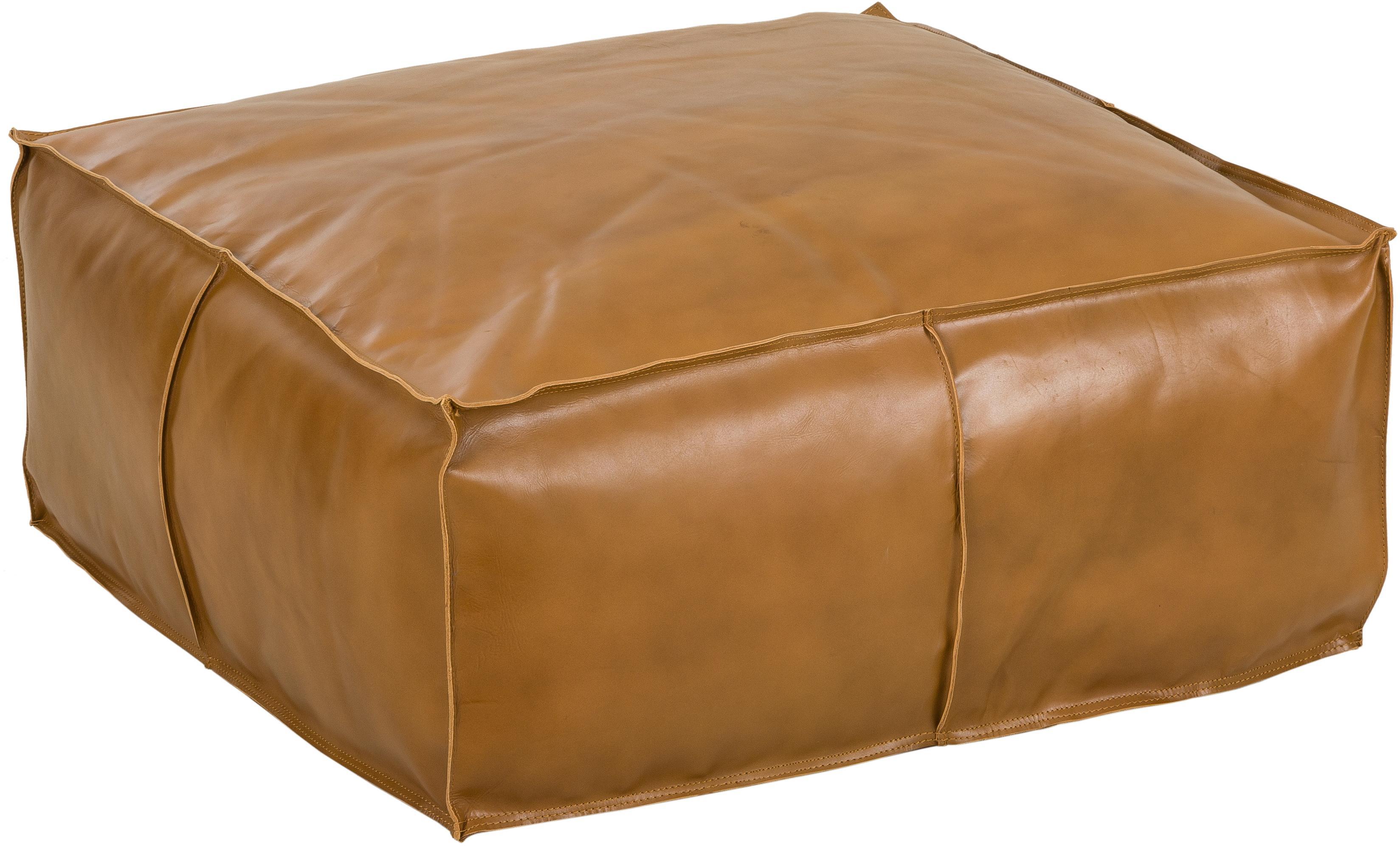Großer Leder-Pouf Arabica, Bezug: Leder Unterseite, Cognac, 70 x 30 cm