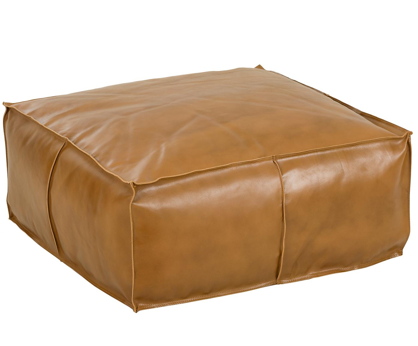 Grosser Leder-Pouf Arabica, Bezug: Leder Unterseite, Cognac, 70 x 30 cm
