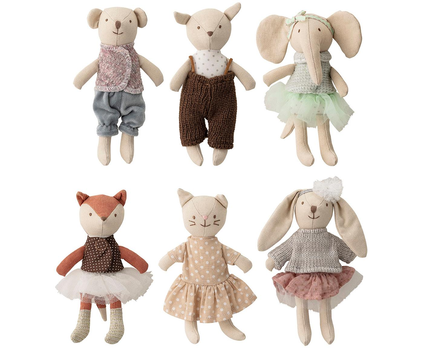 Set di 6 peluche Friends, Multicolore, Larg. 5 x Alt. 16 cm