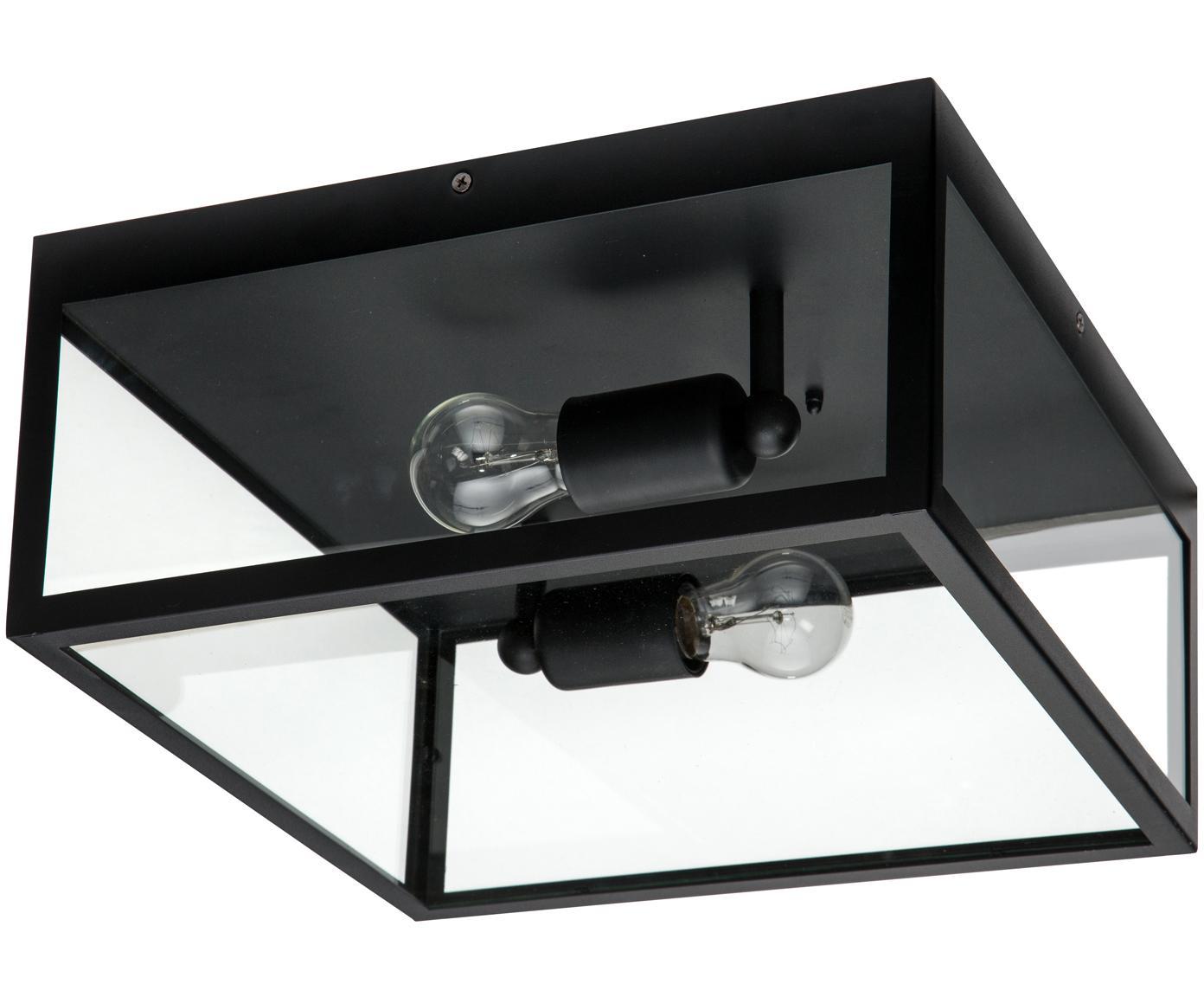 Plafoniera industriale Aberdeen, Acciaio verniciato, vetro, Nero, trasparente, Larg. 36 x Alt. 16 cm