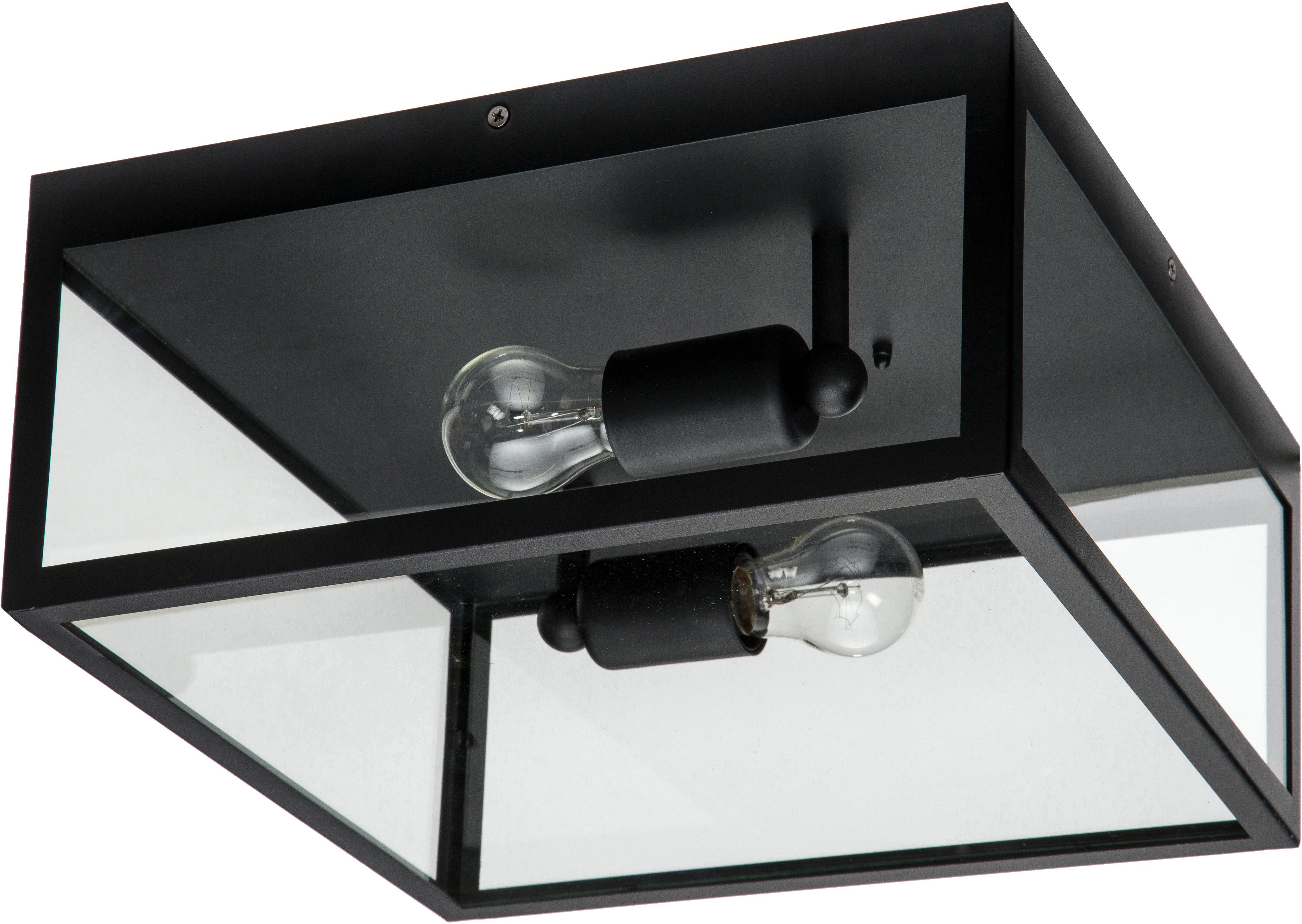 Plafondlamp Aberdeen in industrieel design, Gelakt staal, glas, Zwart, transparant, 36 x 16 cm