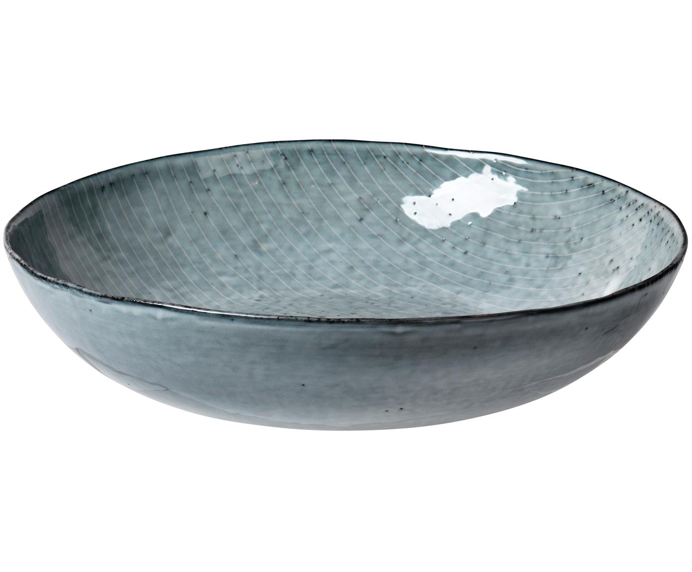 Ciotola da portata fatta a mano Nordic Sea, Terracotta, Tonalità grigie e blu, Ø 34 x Alt. 8 cm