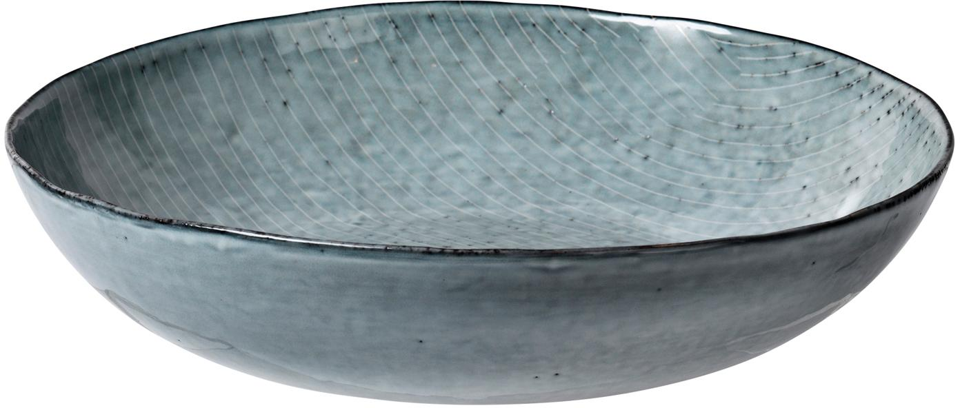 Handgemachte Servierschale Nordic Sea Ø 34 cm aus Steingut, Steingut, Grau- und Blautöne, Ø 34 x H 8 cm