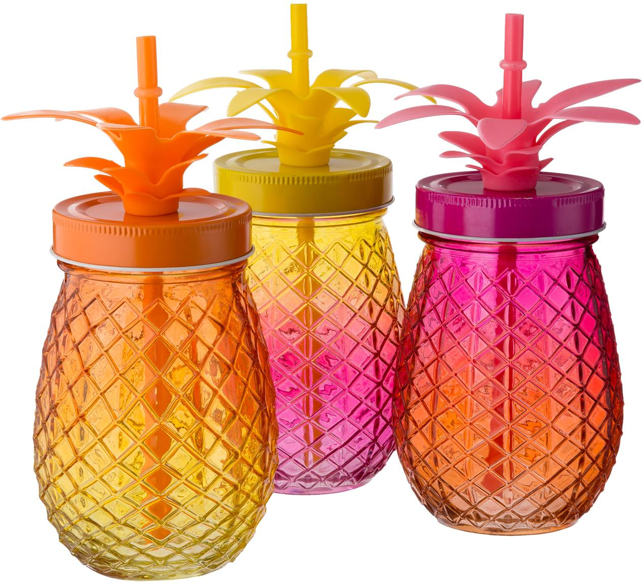 Trinkgläser-Set Pineapples, 3-tlg., Trinkglas: Glas, Deckel: Metall, Strohhalm: Kunststoff, Pink, Orange, Gelb, Ø 9 x H 14 cm