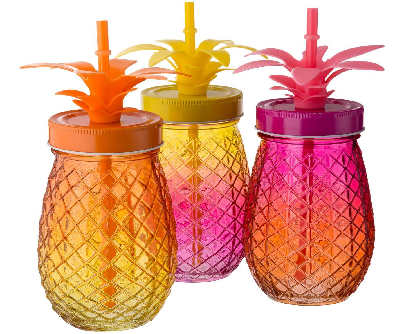 Drinkglazenset Pineapples, 3-delig, Drinkglas: glas, Deksel: metaal, Rietje: kunststof, Roze, oranje, geel, Ø 9 x H 14 cm