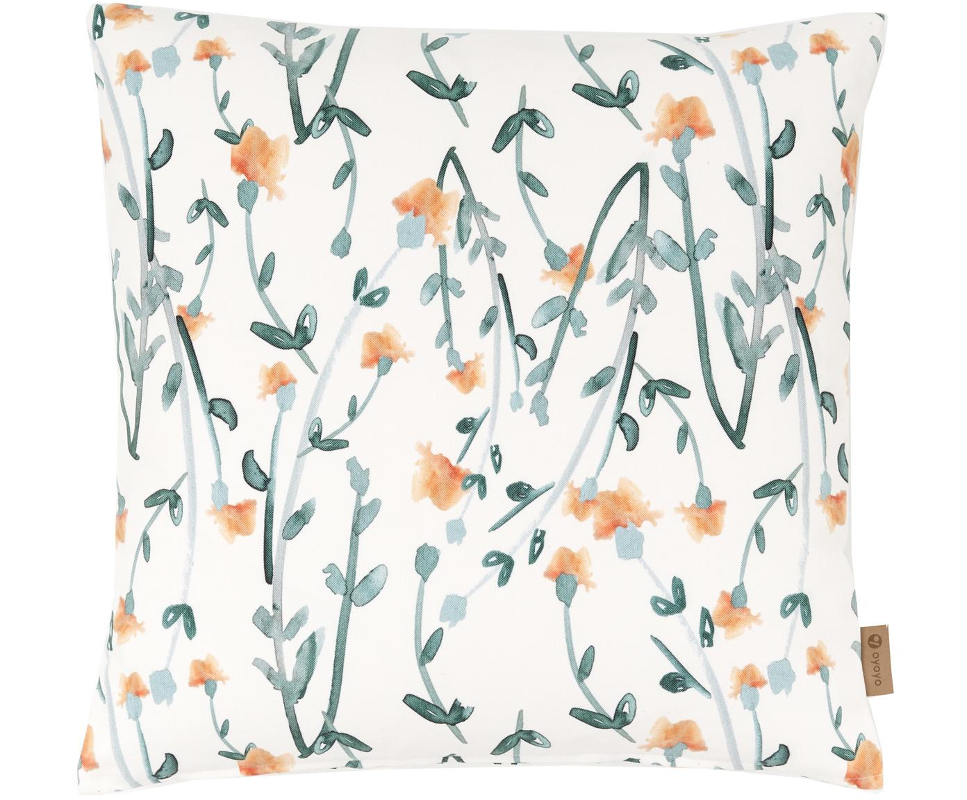 Kussenhoes Flower Dream met bloemmotief, Polyester, Wit, groen, oranje, 50 x 50 cm
