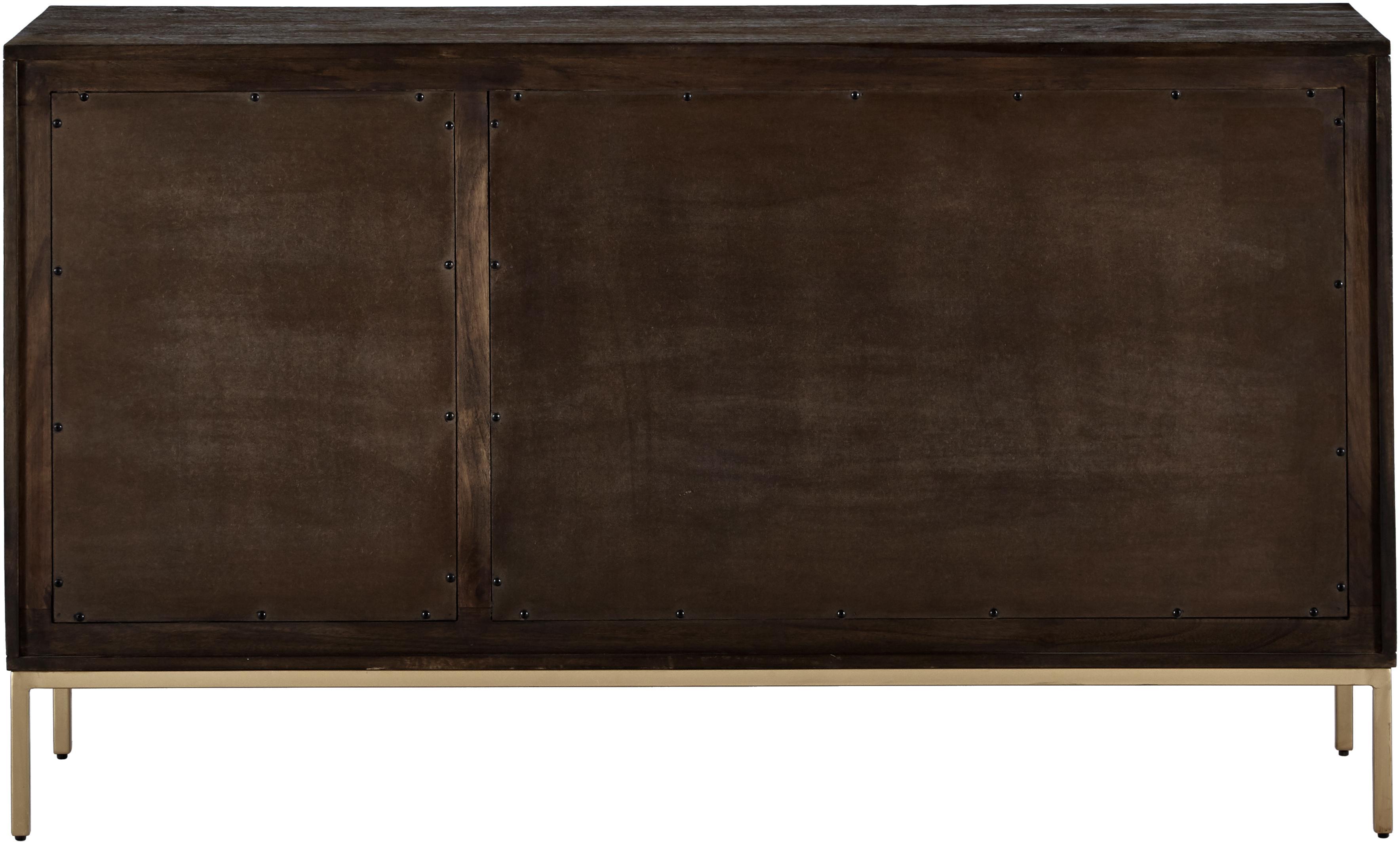 Massivholz Sideboard Clive, Korpus: Massives Mangoholz, lacki, Griffe: Metall, pulverbeschichtet, Gestell: Metall, pulverbeschichtet, Mangoholz, Goldfarben, 150 x 85 cm