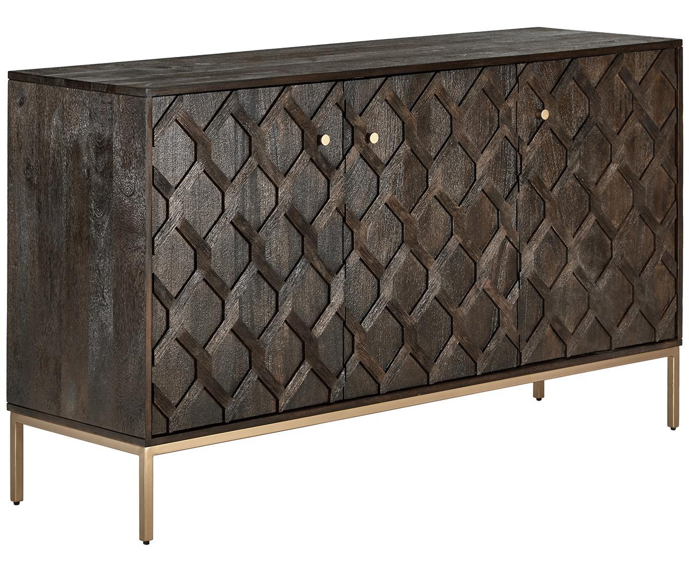 Credenza in legno massello Clive, Struttura: metallo verniciato a polv, Legno di mango, dorato, Larg. 150 x Alt. 85 cm