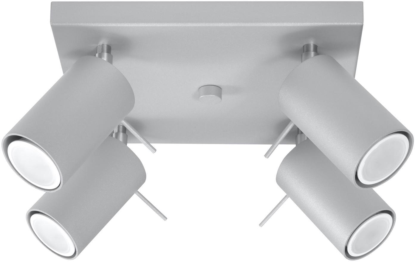 Faretti da soffitto Etna, Acciaio, Grigio, Larg. 25 x Alt. 15 cm