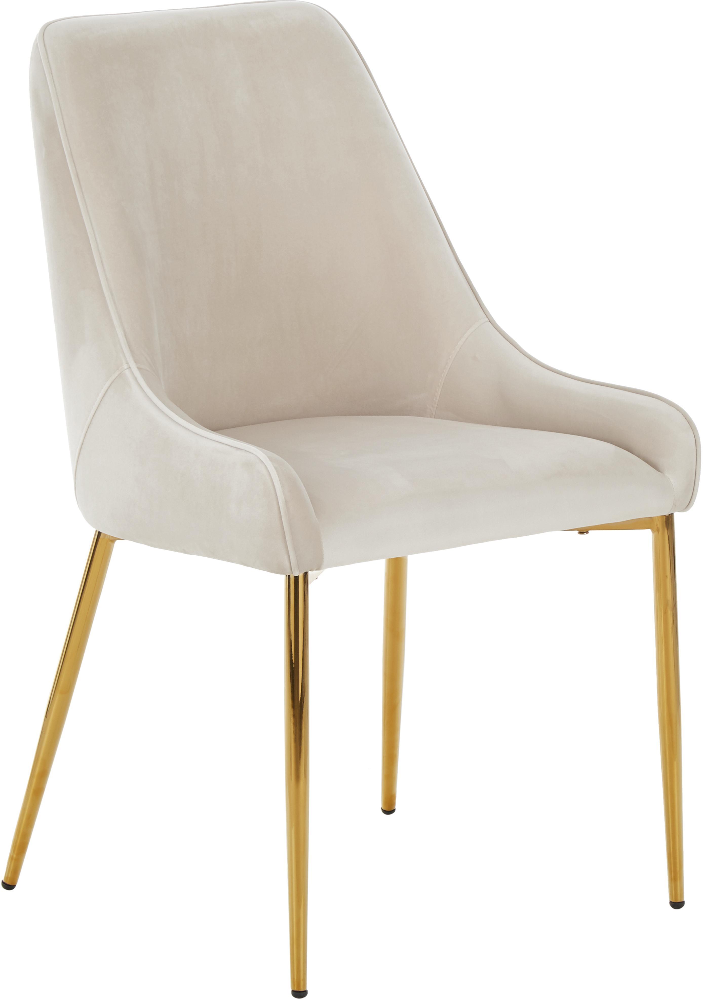Samt-Polsterstuhl Ava mit goldfarbenen Beinen, Bezug: Samt (100% Polyester) Der, Beine: Metall, Samt Beige, B 53 x T 60 cm