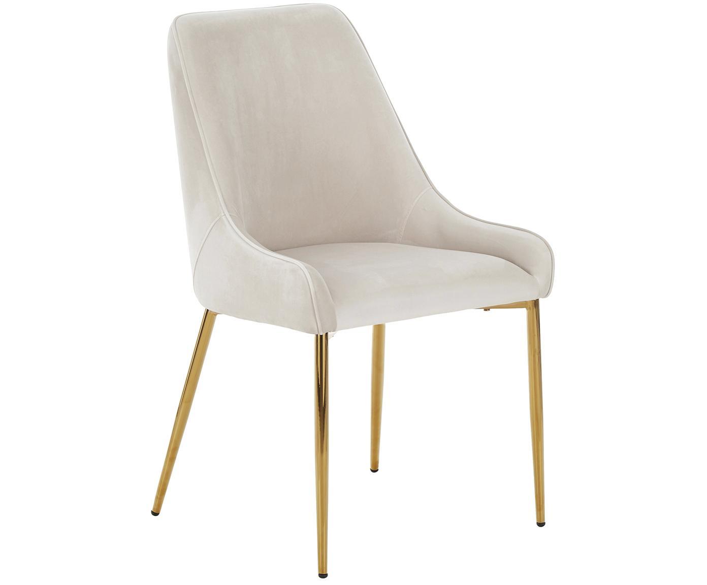 Fluwelen stoel Ava met goudkleurige poten, Bekleding: fluweel (100% polyester), Poten: metaal, Beige, B 53 x D 60 cm