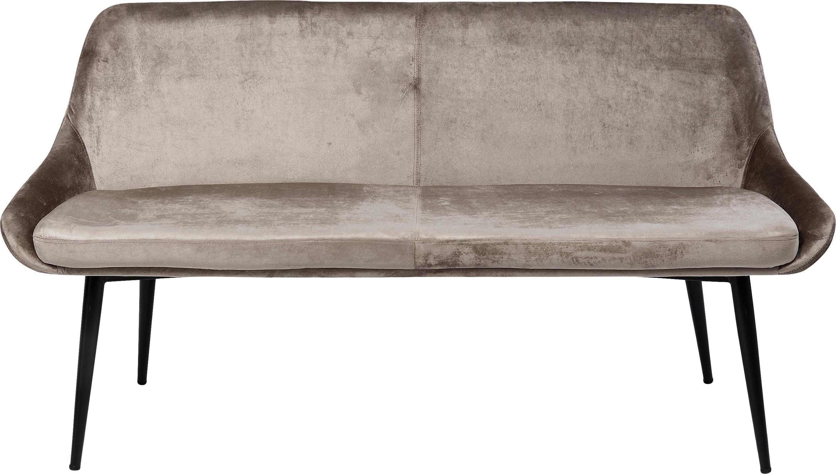 Panca in velluto con schienale East Side, Rivestimento: velluto di poliestere 50., Gambe: metallo verniciato a polv, Struttura: legno lamellare impiallac, Beige, Larg. 154 x Prof. 65 cm