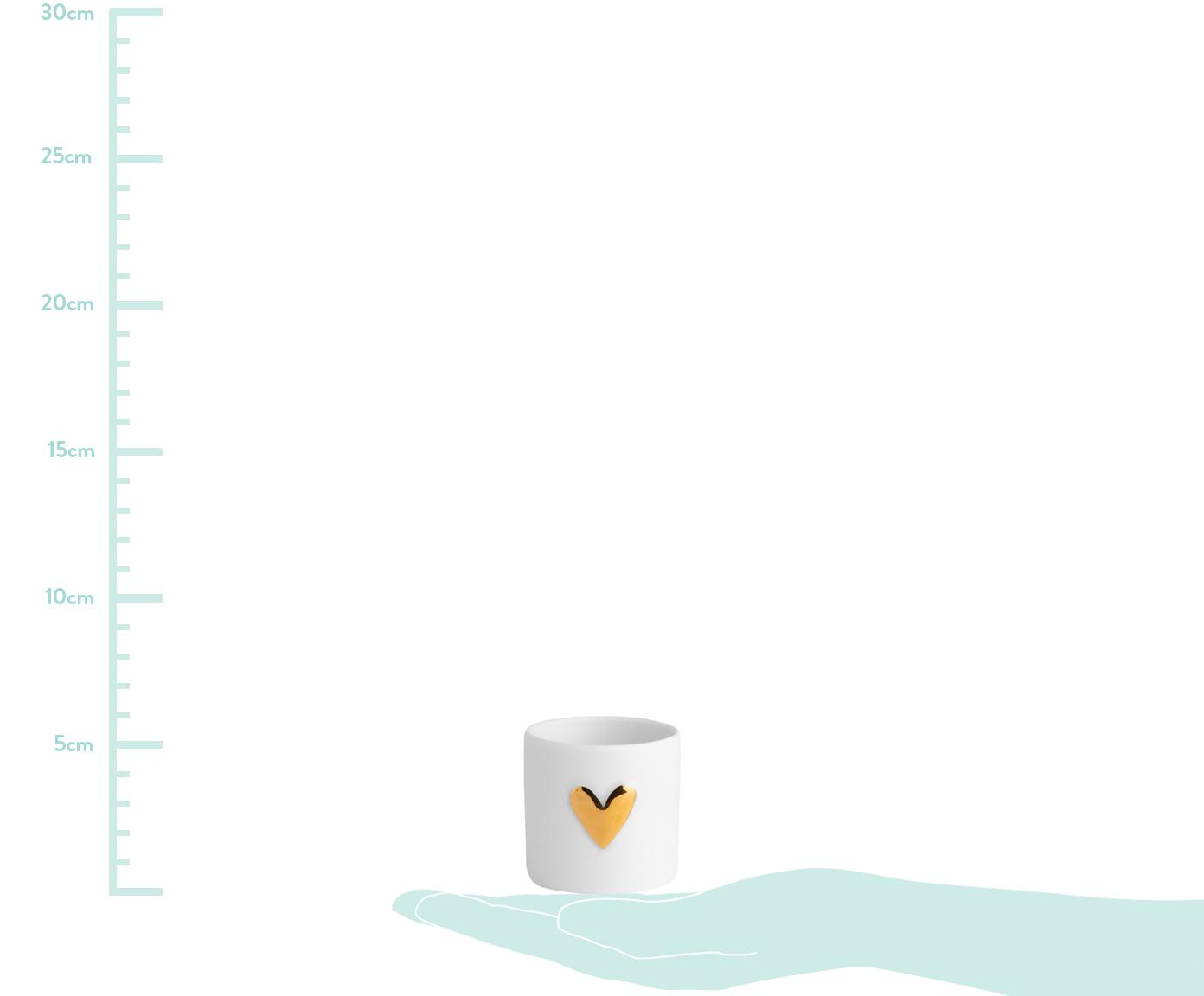 Teelichthalter Heart, Porzellan, 2 Stück, Porzellan, Weiß, Goldfarben, Ø 5 x H 5 cm