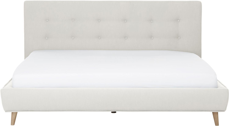 Łóżko tapicerowane Moon, Korpus: lite drewno sosnowe, Nogi: lite drewno dębowe, Tapicerka: poliester (materiał tekst, Beżowy, 180 x 200 cm