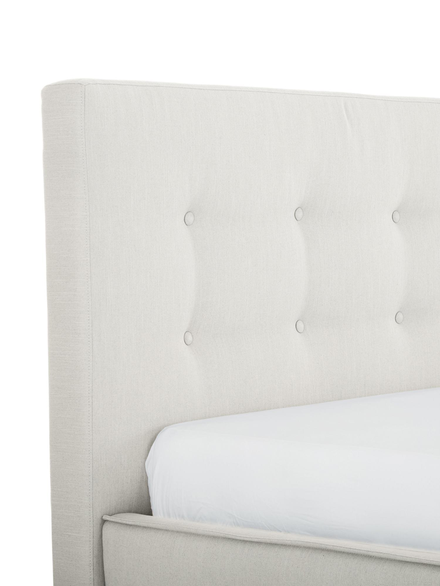 Letto matrimoniale imbottito Moon, Piedini: legno di quercia massicci, Rivestimento: Poliestere (tessuto strut, Tessuto beige, 180 x 200 cm
