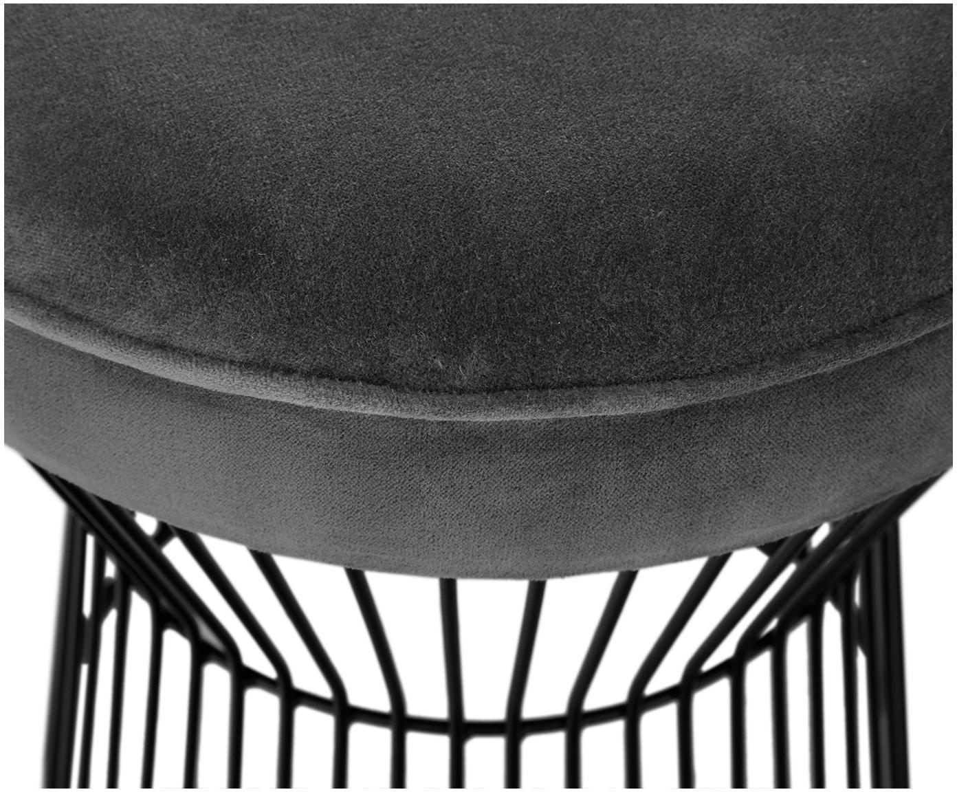 Stołek z aksamitu Felicity, Tapicerka: aksamit bawełniany, Noga: metal malowany proszkowo, Tapicerka: ciemny szary Noga: czarny, matowy, Ø 35 x W 40 cm