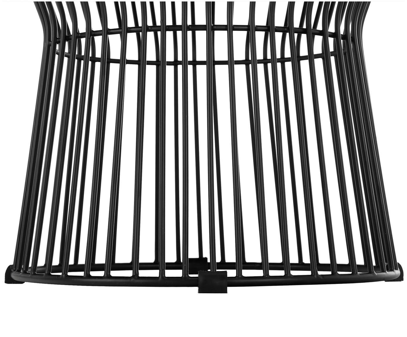 Sgabello in velluto Felicity, Rivestimento: velluto di cotone, Rivestimento: grigio scuro base: nero opaco, Ø 35 x Alt. 40 cm