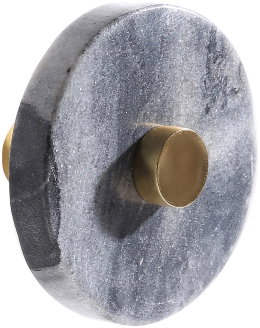Marmeren wandhaken Jona, Gemarmerd grijs, messingkleurig, Ø 5 x D 8 cm