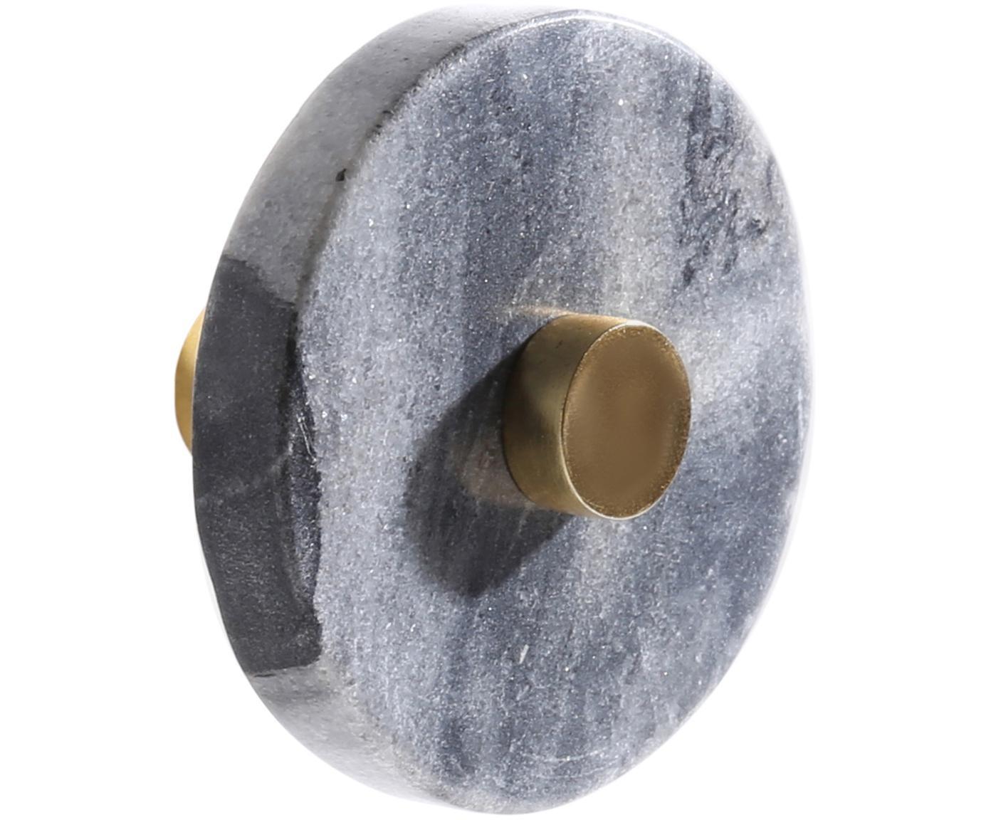 Hak ścienny z marmuru Jona, Szary, marmurowy, mosiądz, Ø 5 x G 8 cm