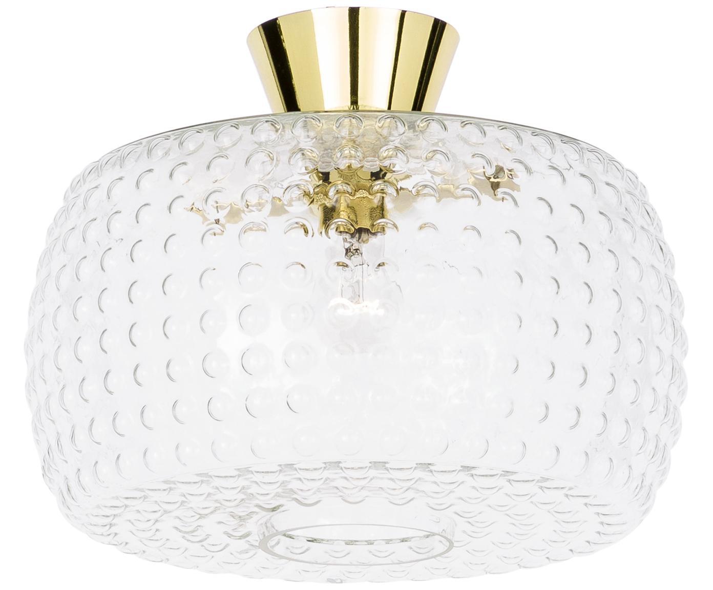 Plafondlamp Spring van glas, Baldakijn: gelakt messing, Lampenkap: glas, Goudkleurig, transparant, Ø 40 x H 27 cm