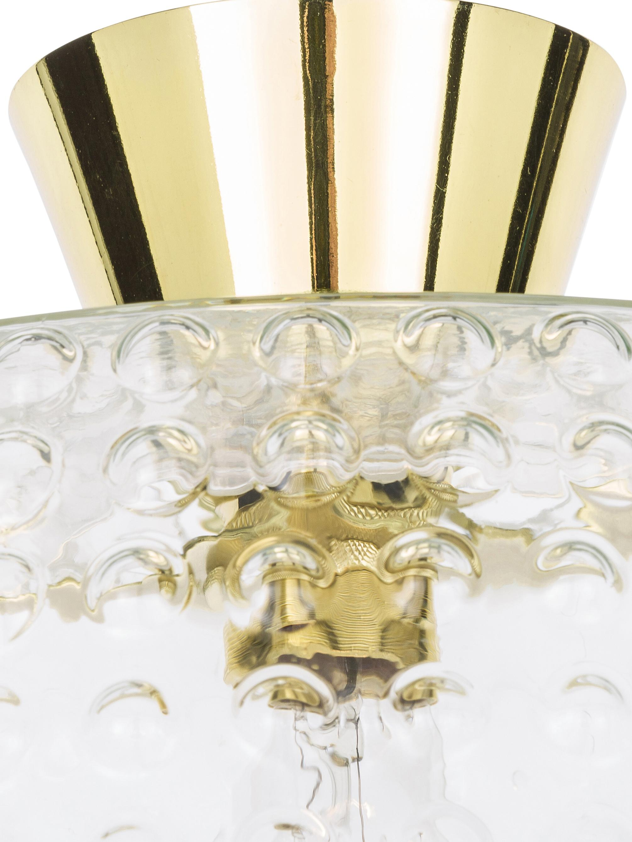 Plafonnier en verre Spring, Couleur dorée, transparent