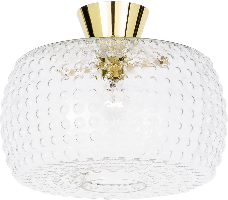 Plafoniera in vetro Spring, Baldacchino: ottone verniciato, Paralume: vetro, Dorato, trasparente, Ø 36 x Alt. 27 cm