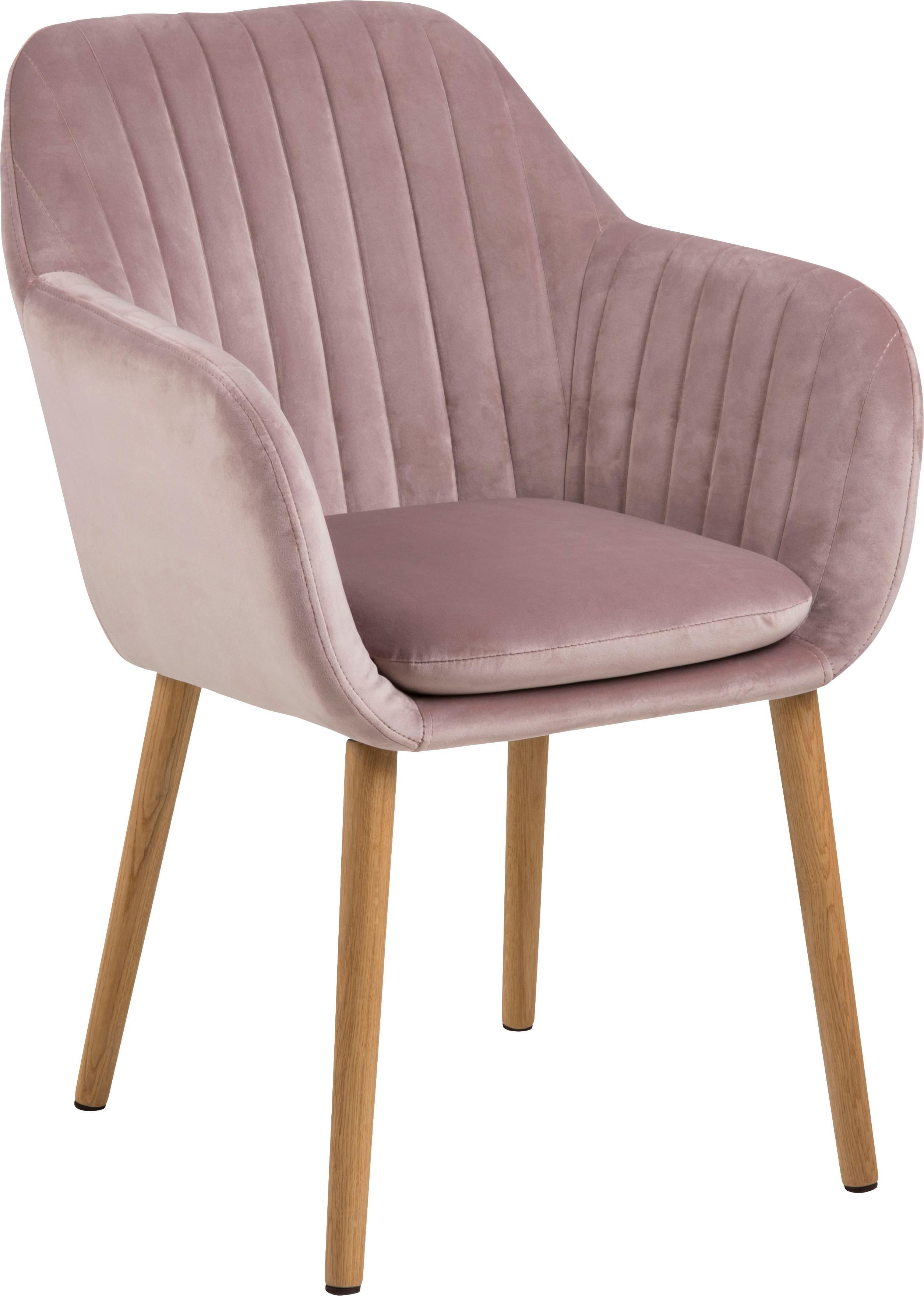Krzesło z aksamitu z podłokietnikami Emilia, Tapicerka: poliester (aksamit), Nogi: drewno dębowe, olejowane , Aksamitny blady różowy, nogi: drewno dębowe, S 57 x G 59 cm