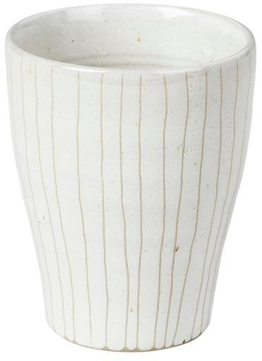 Ręcznie wykonany kubek do espresso Copenhagen, 6 szt., Kamionka, Kość słoniowa z cienkimi, jasny beżowymi paskami, Ø 7 x W 8 cm