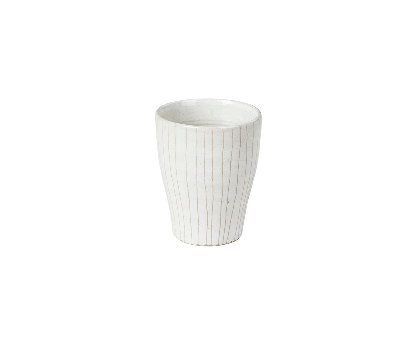 Tazas de café artesanales Copenhagen, 6uds., Gres, Marfil con rayas finas en beige claro, Ø 7 x Al 8 cm
