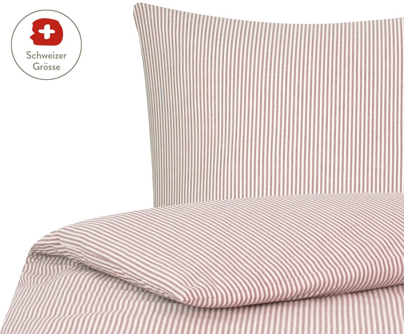 Baumwoll-Bettdeckenbezug Ellie, fein gestreift, Webart: Renforcé, Weiss, Rot, 160 x 210 cm