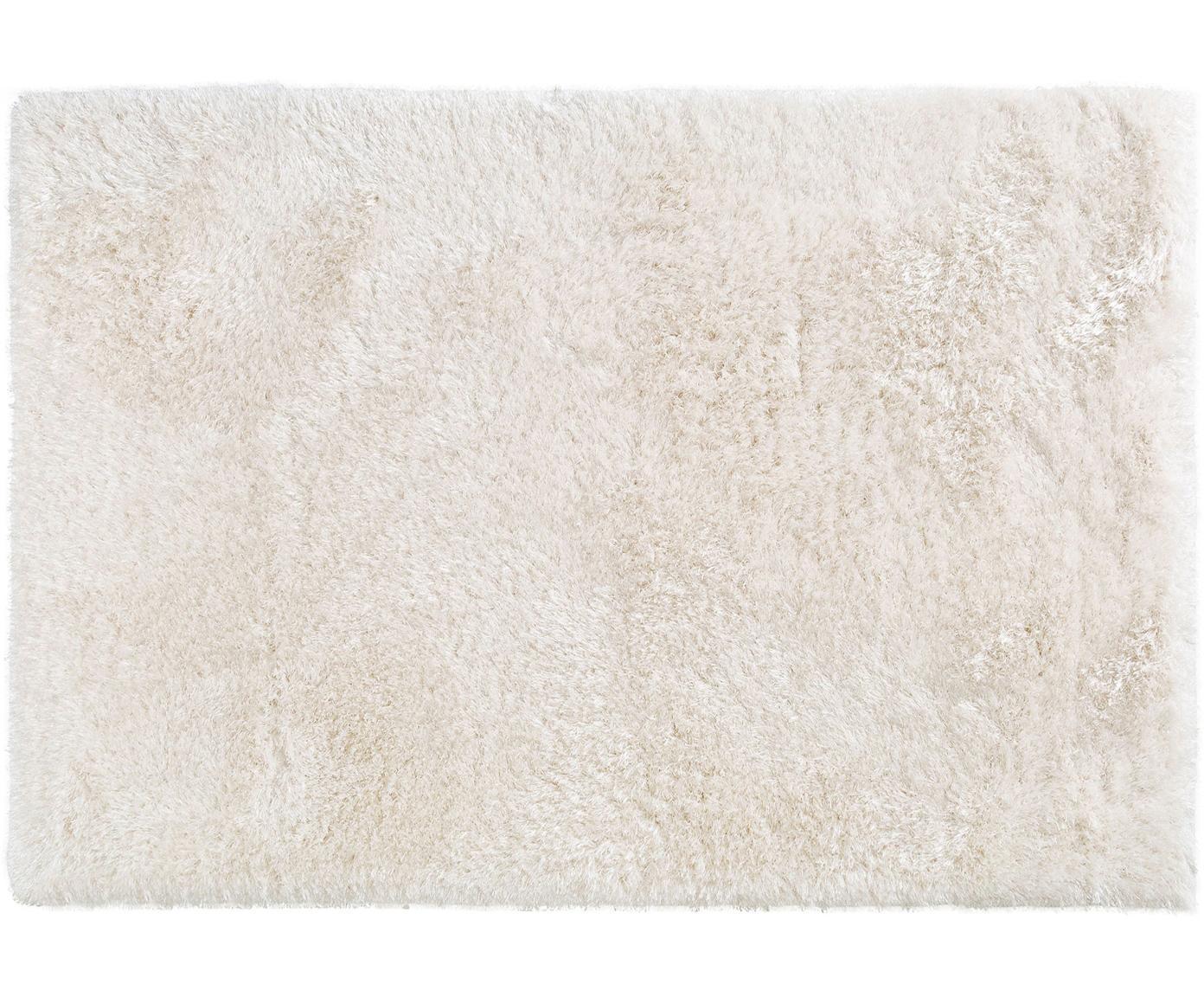Glanzend hoogpolig vloerkleed Lea, 50% polyester, 50% polypropyleen, Wit, B 140 x L 200 cm (maat S)