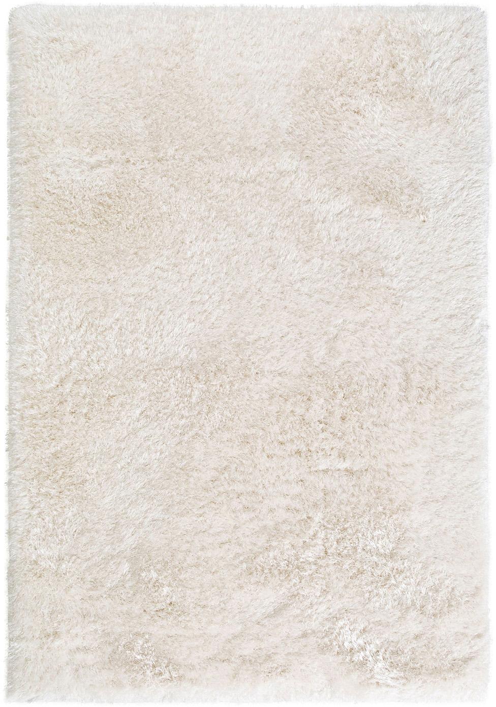 Glanzend hoogpolig vloerkleed Lea in wit, Bovenzijde: 50% polyester, 50% polypr, Onderzijde: 100% jute, Wit, B 140 x L 200 cm (maat S)