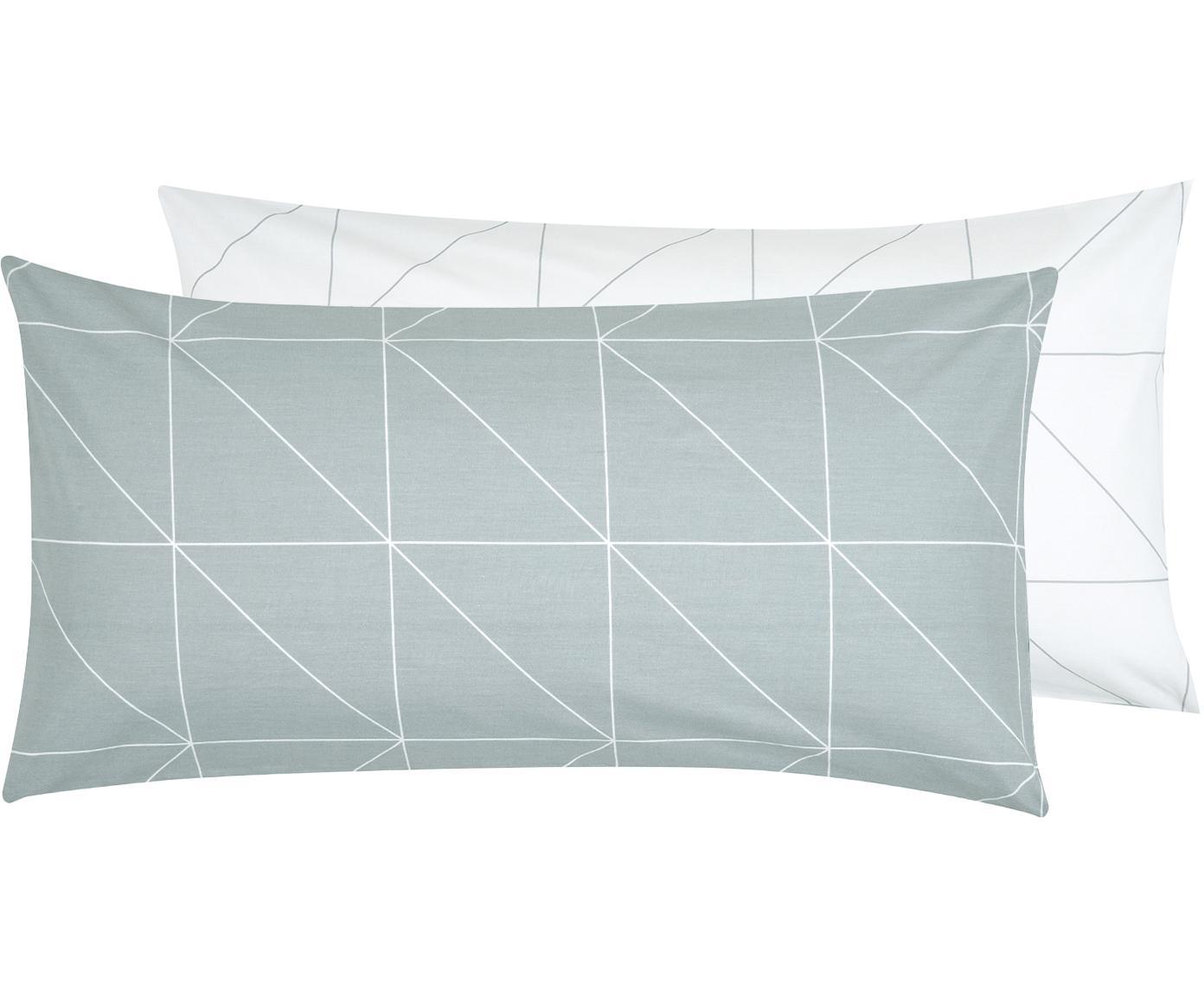 Funda de almohada de tejido renforcé Marla, caras distintas, Verde salvia, blanco crema, An 45 x L 85 cm