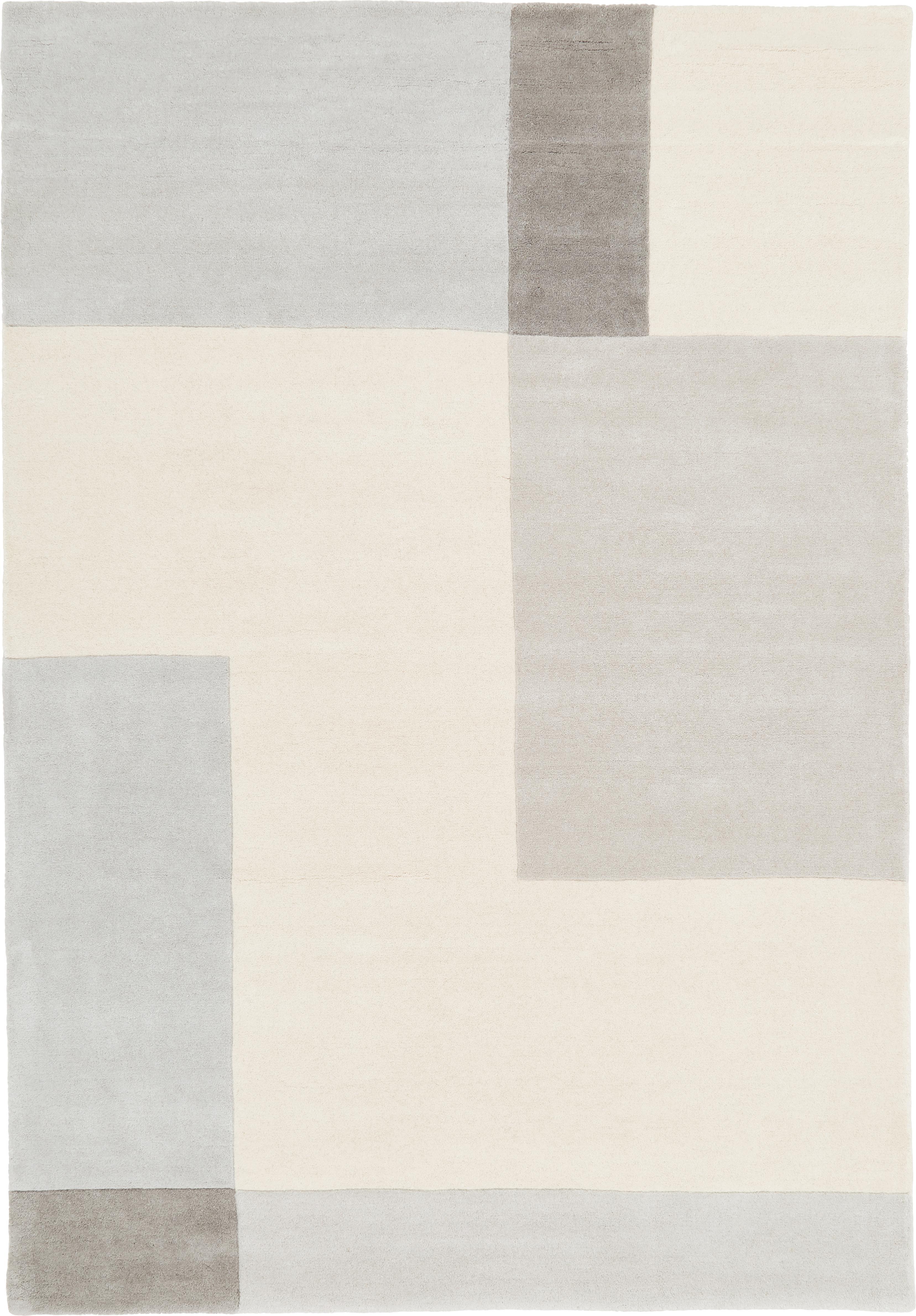 Handgetufteter Wollteppich Keith mit geometrischem Muster, Flor: 100% Wolle, Beige, Grau, B 160 x L 230 cm (Größe M)