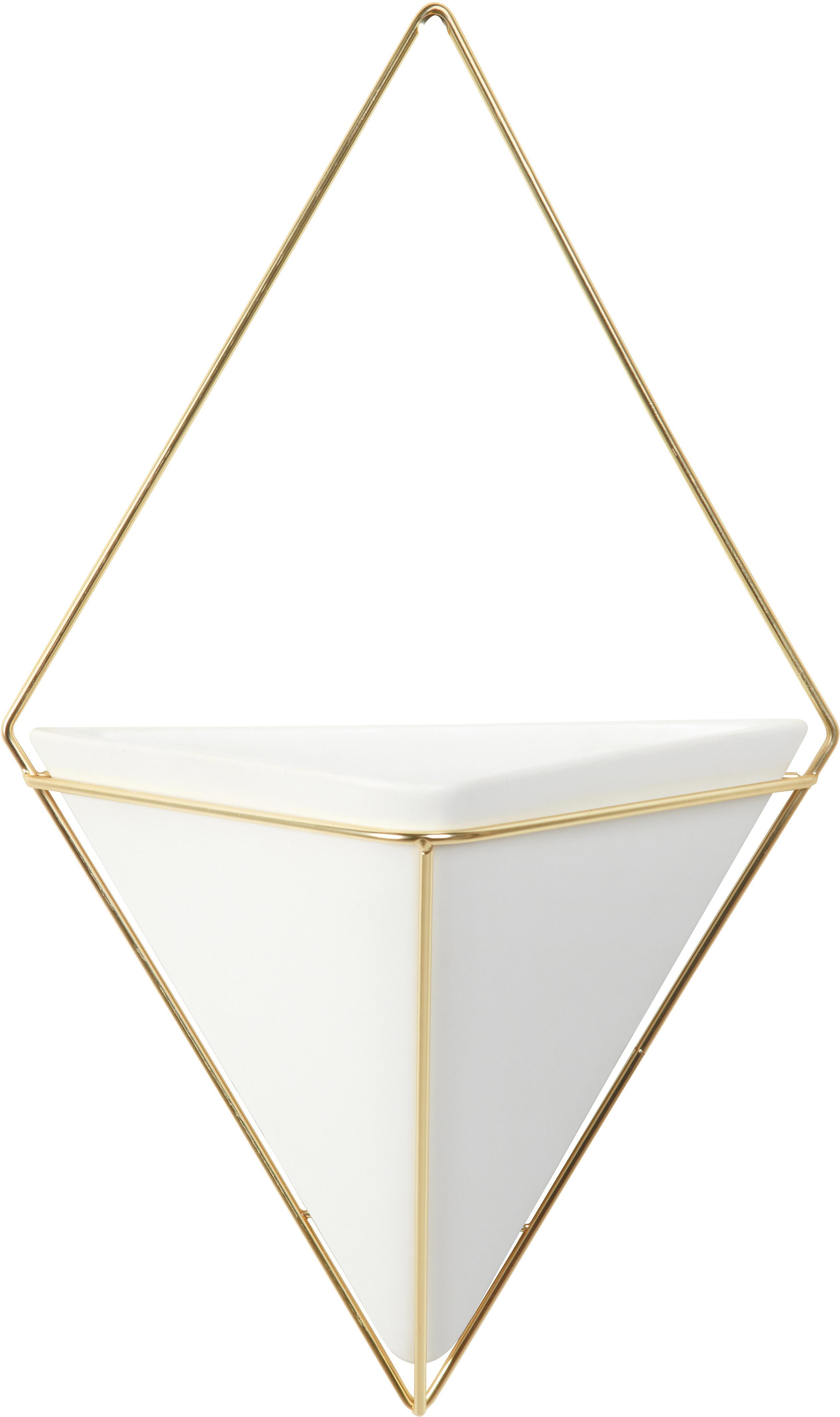 Portavaso da parete in ceramica Trigg, Bianco, ottone opaco, Larg. 23 x Alt. 38 cm