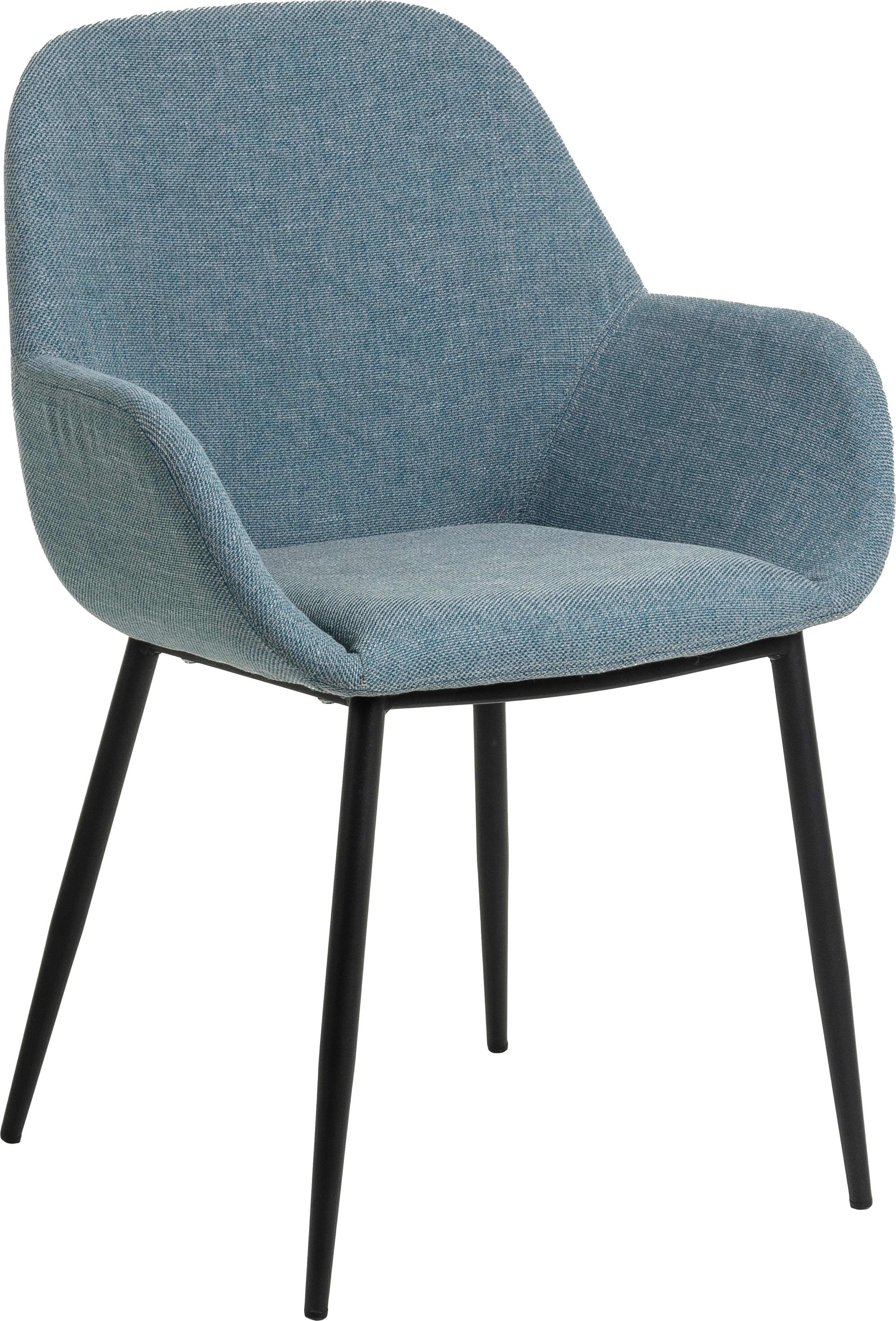 Sedia con braccioli Kona 2 pz, Rivestimento: poliestere 50.000 cicli d, Gambe: metallo verniciato, Tessuto blu, Larg. 59 x Alt. 56 cm
