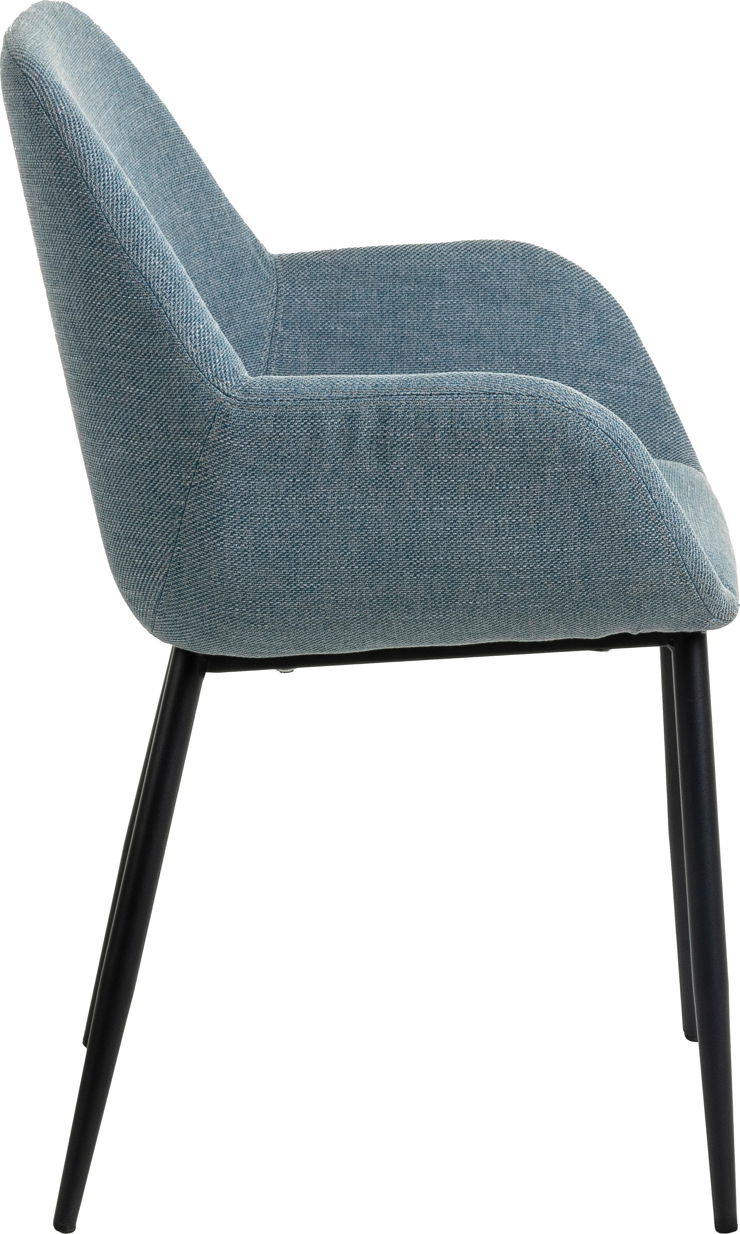 Armlehnstühle Kona, 2 Stück, Bezug: Polyester 50.000 Scheuert, Beine: Metall, lackiert, Webstoff Blau, B 59 x T 56 cm
