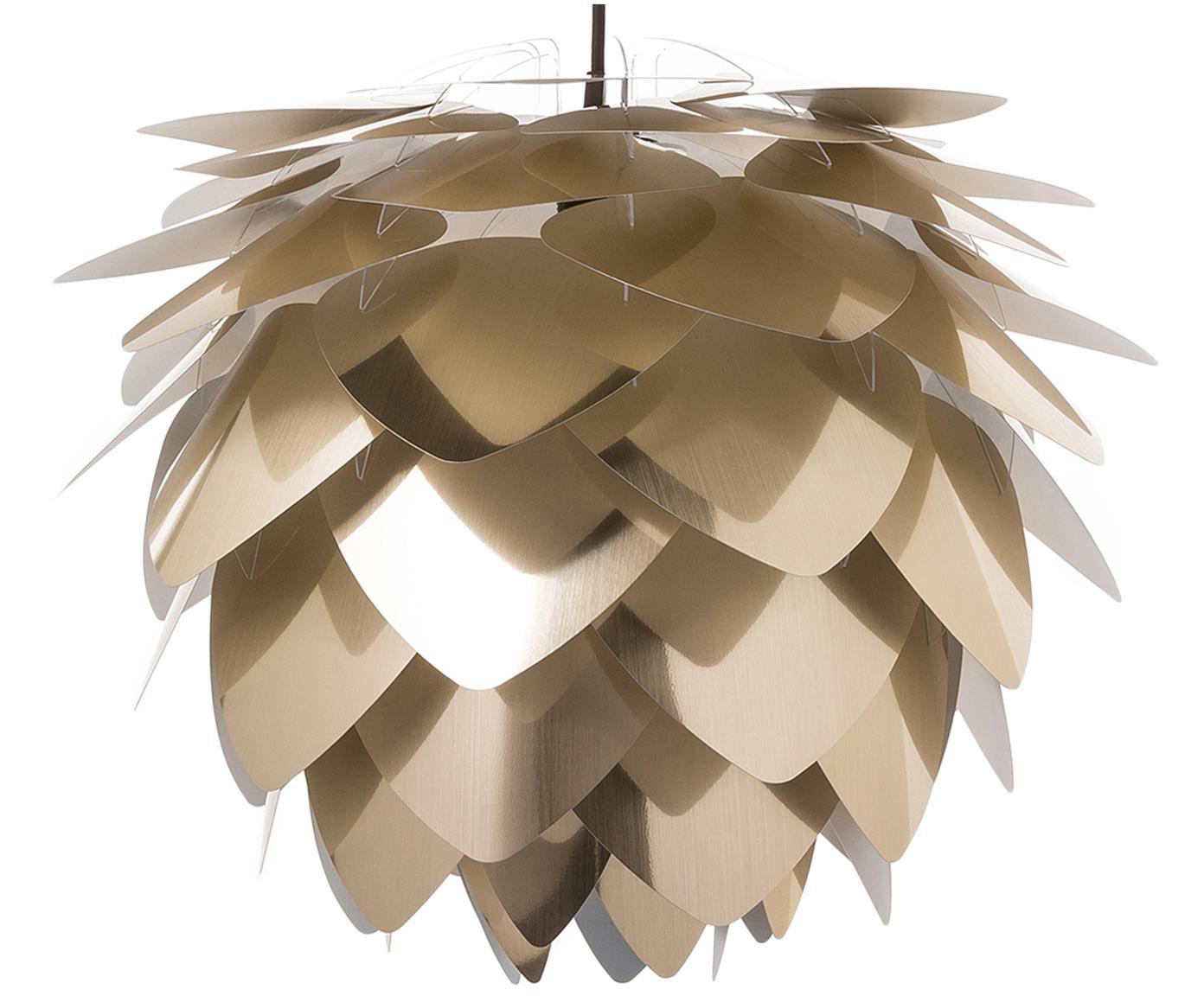 Hanglamp Silvia, bouwpakket, Polypropyleen, polycarbonaat, Lampenkap: messingkleurig. Snoerpendel: zwart, Ø 50 x H 41 cm