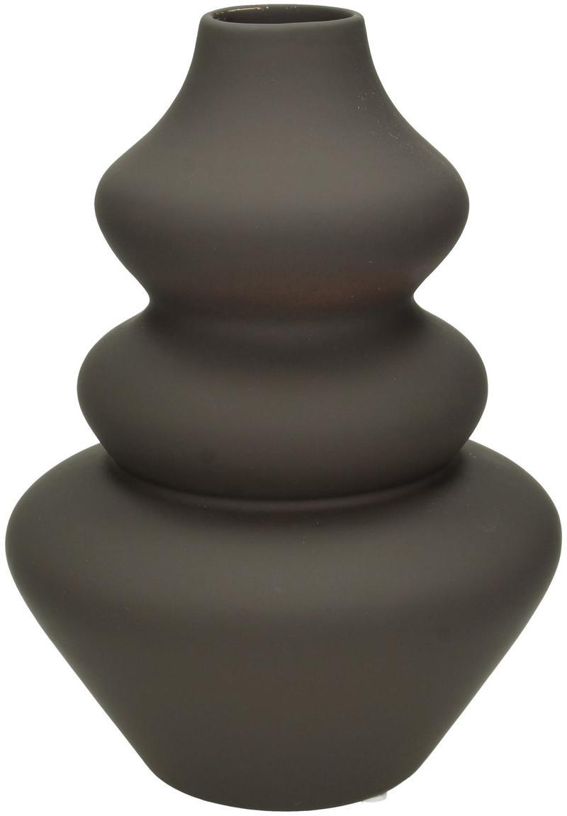Vase Thena aus Steingut, Steingut, Braun, Ø 15 x H 22 cm